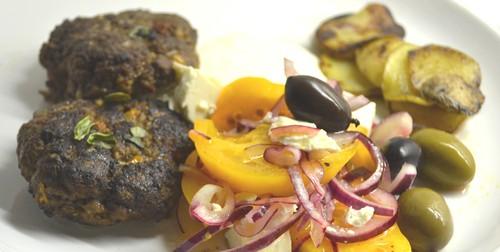 Biffar med feta och soltorkad tomat