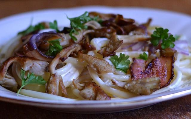 Mumsig pasta med ostronskivling och bacon!