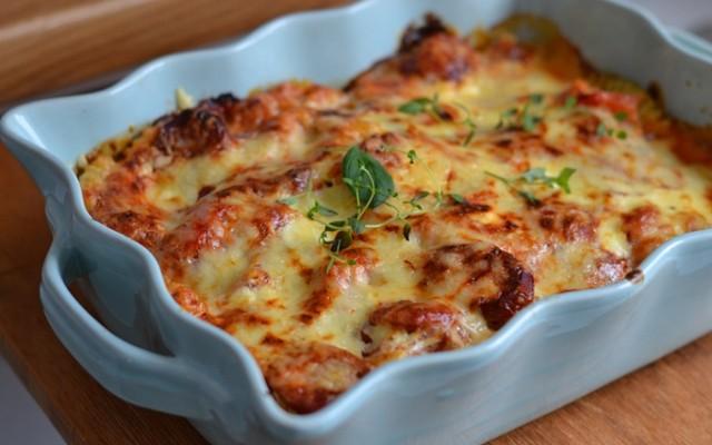 Pastagratäng med chorizo och mozzarella