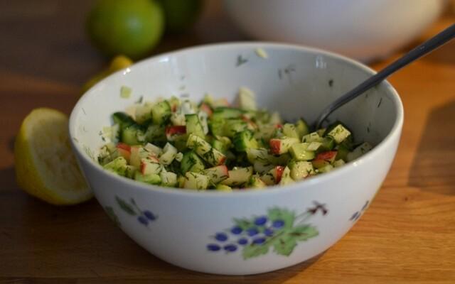 Salsa med fänkål, äpple och gurka